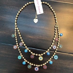 Betsey Johnson Evil Eye Double Necklace